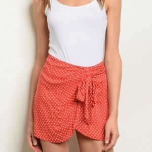 NEW! Red and White Polka Dot Skort w/Tie Front